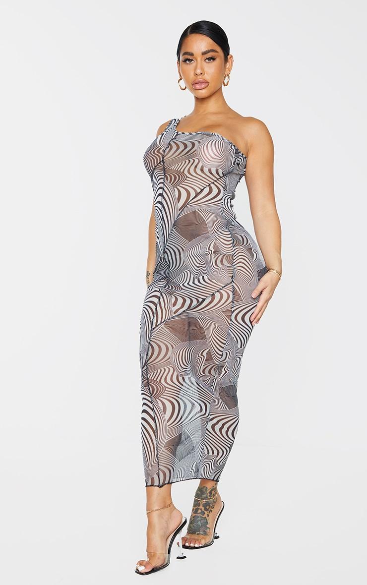 Shape Monochrome Swirl Print Sheer Mesh Overlock One Shoulder Midi Dress 3
