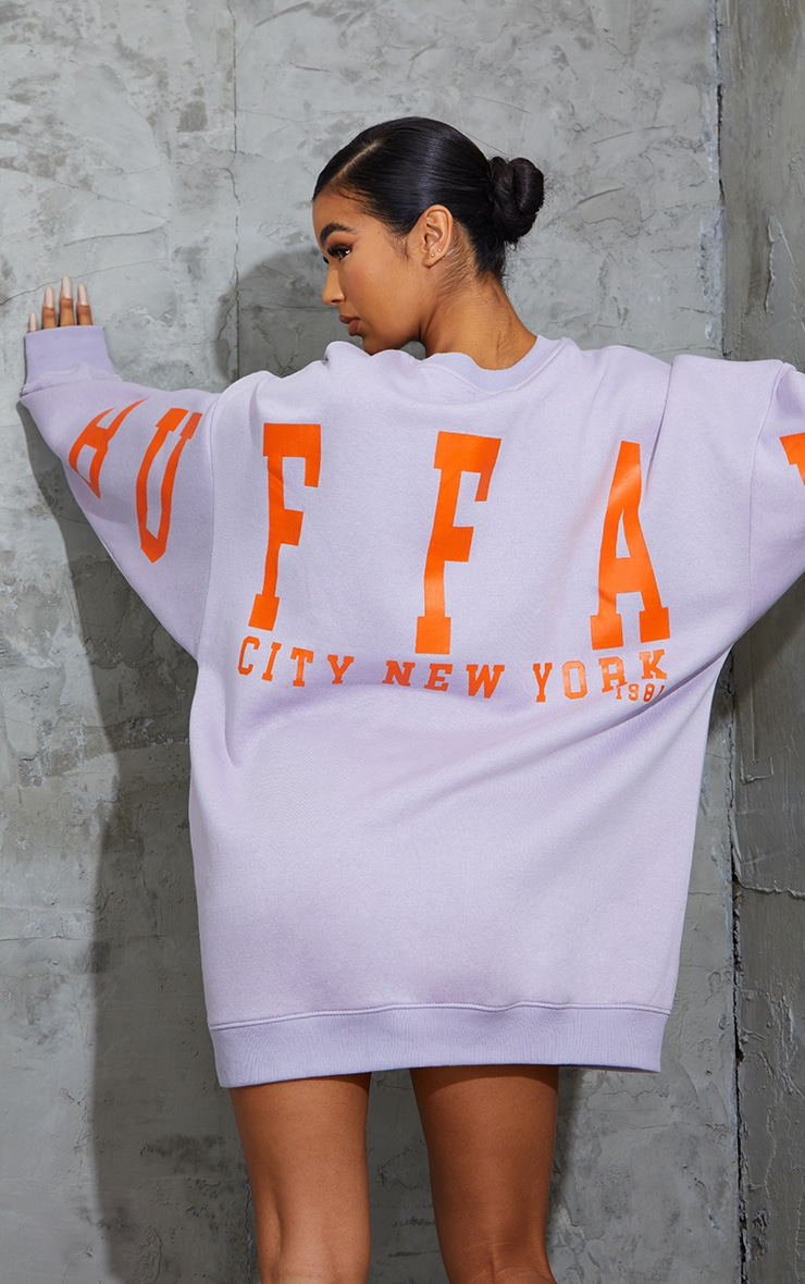 Lilac Buffalo New York Slogan Sweat Jumper Dress 4