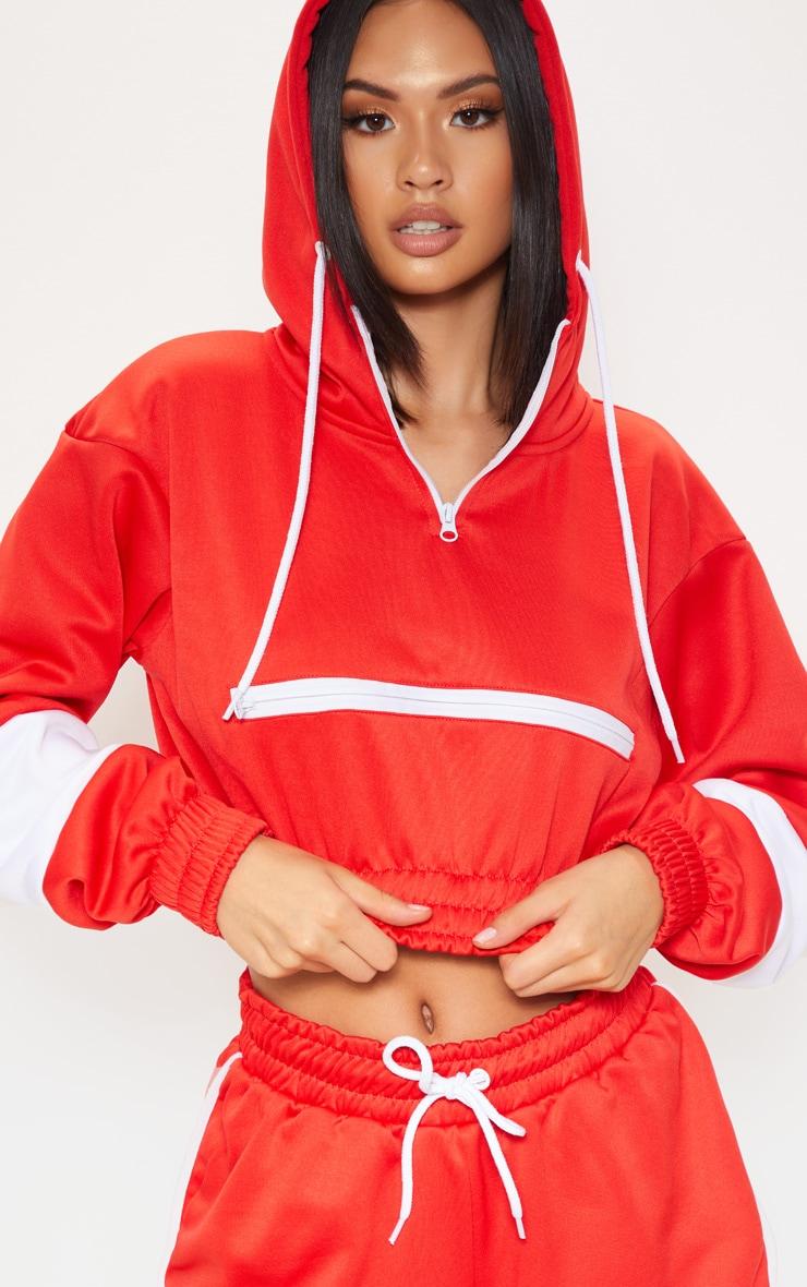 Red Contrast Stripe Crop Hoodie 1