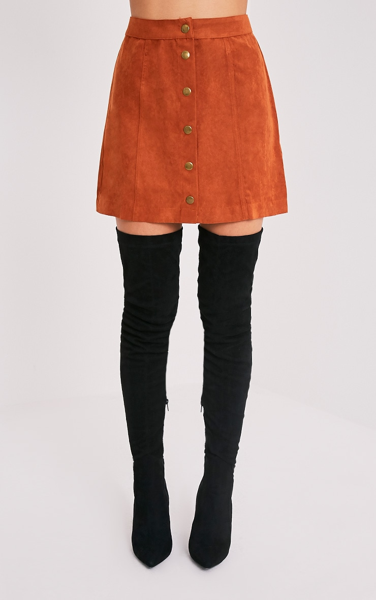 Carmelita Rust Suede Button Front Skirt 2