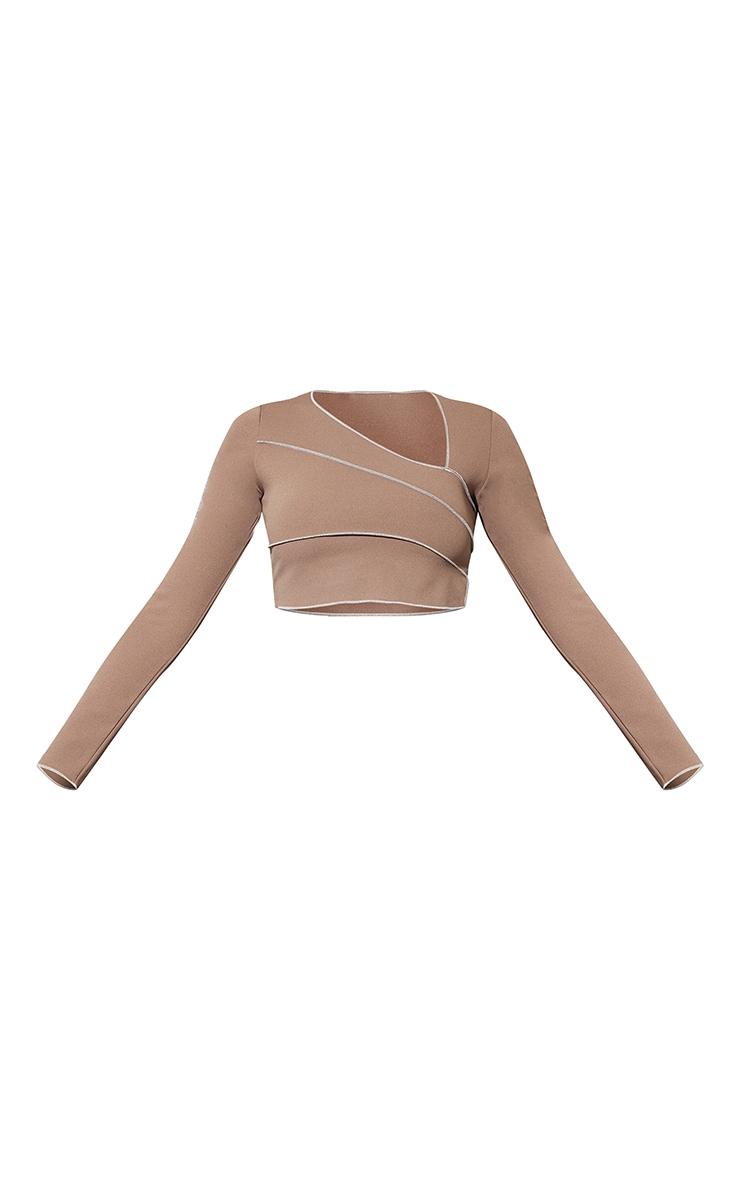 Mocha Crepe Contrast Seam Asymmetric Neck Long Sleeve Crop Top 5