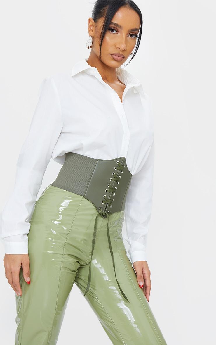 Khaki Lace Up PU Corset Belt 1