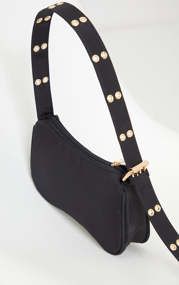 Black Nylon Eyelet Strap Mini Shoulder Bag 3