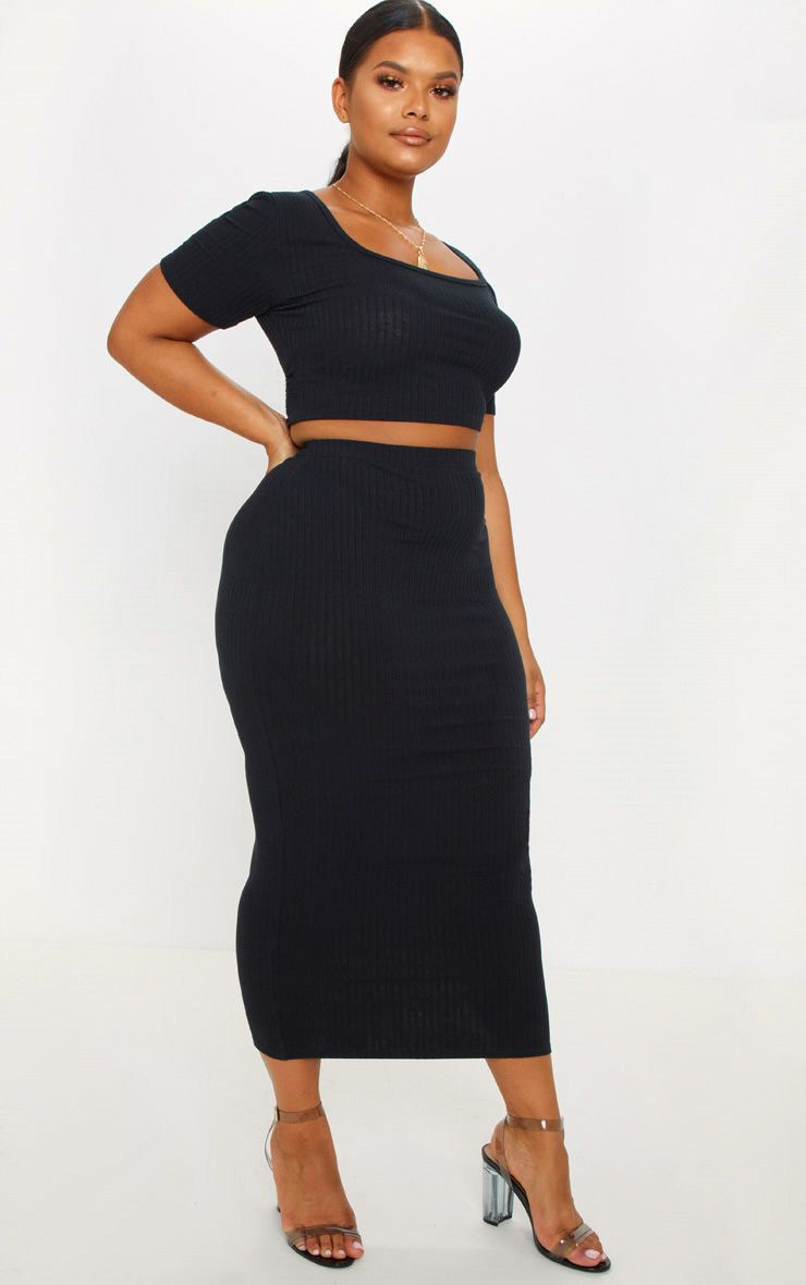 Plus Black Rib High Waisted Midi Skirt 1