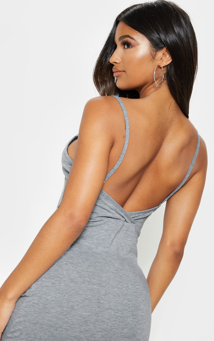 Grey Jersey Scoop Strappy Maxi Dress 5