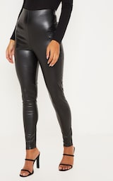 Black Faux Leather High Waisted Leggings 2