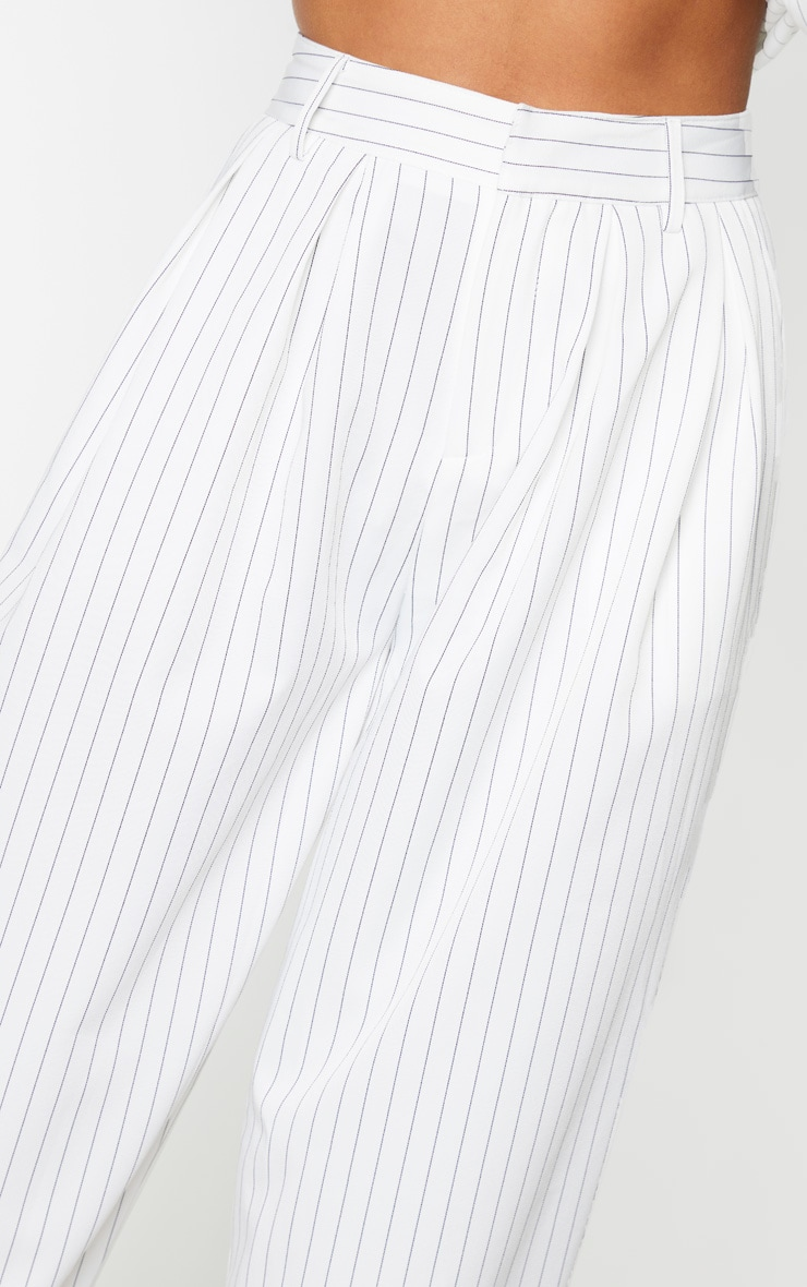 Cream Pinstripe Woven High Waisted Cigarette Pants 4