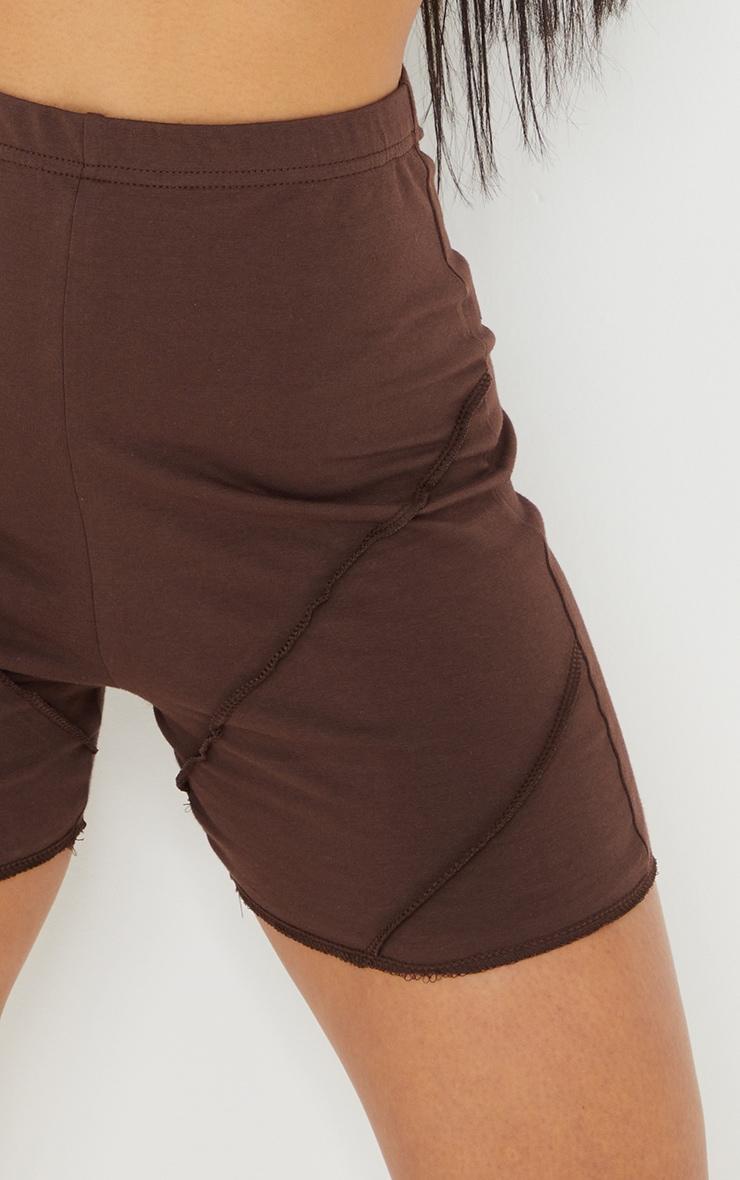 Chocolate Exposed Seam Cotton Hot Pants 5