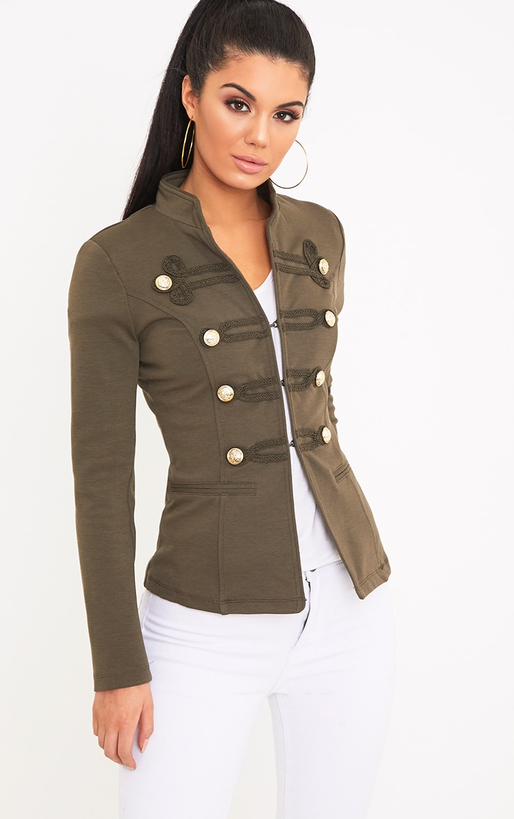 Karaa Khaki Cropped Military Detail Jacket 1