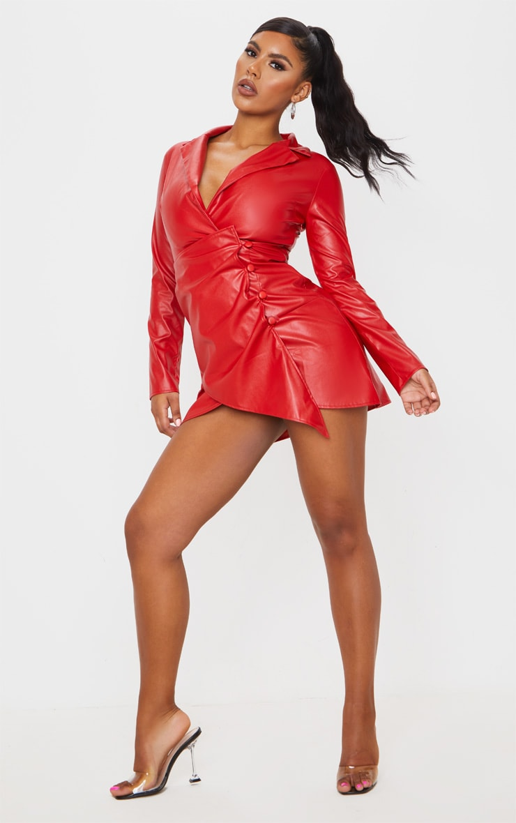 Red Faux Leather Long Sleeve Button Up Detail Bodycon Dress 4