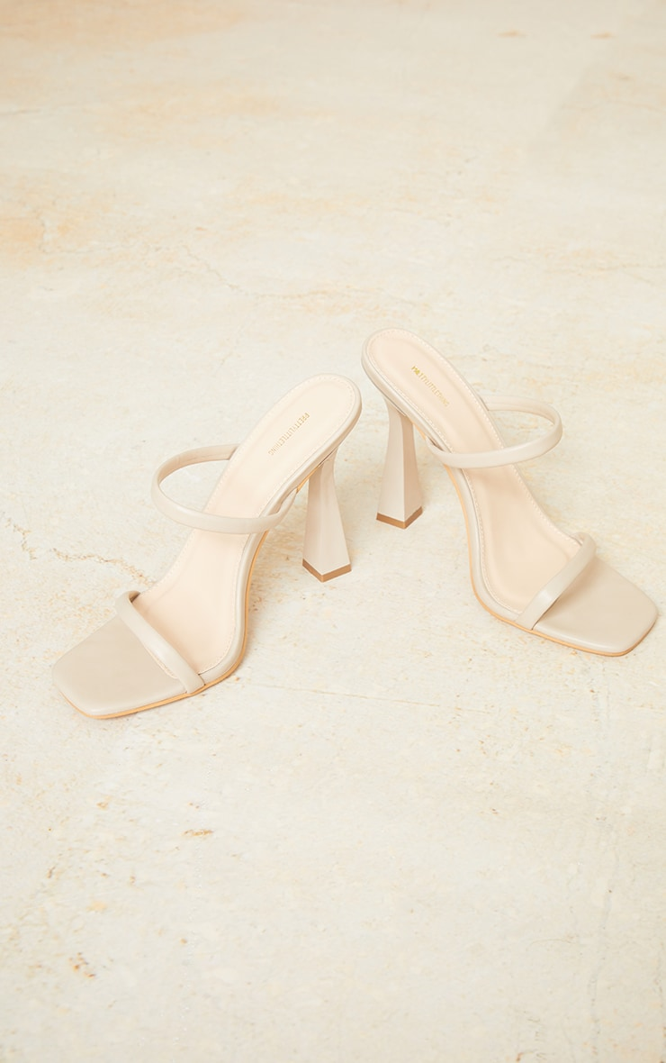 Nude Pu Double Strap Heeled Mules 3