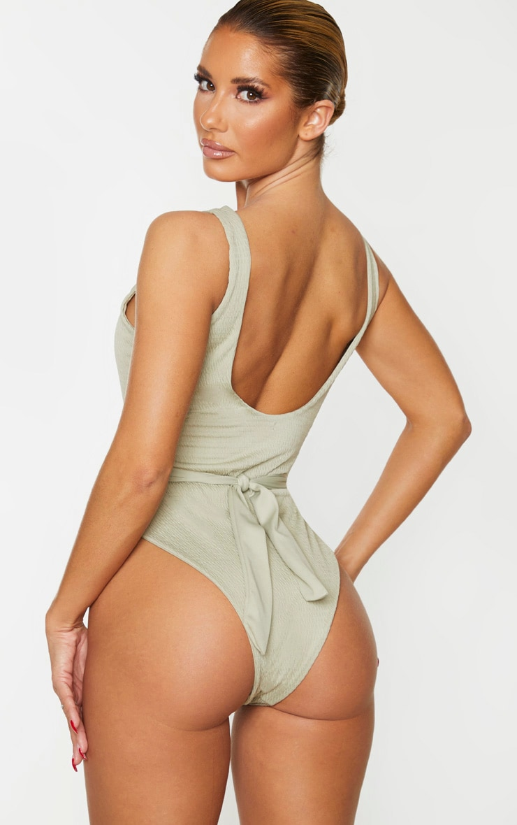 Soft Olive Crinkle Cut Out Belted Swimsuit 2