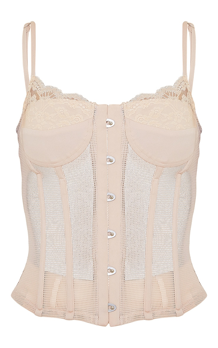 Nude Mesh Fishnet Hook And Eye Structured Corset 5