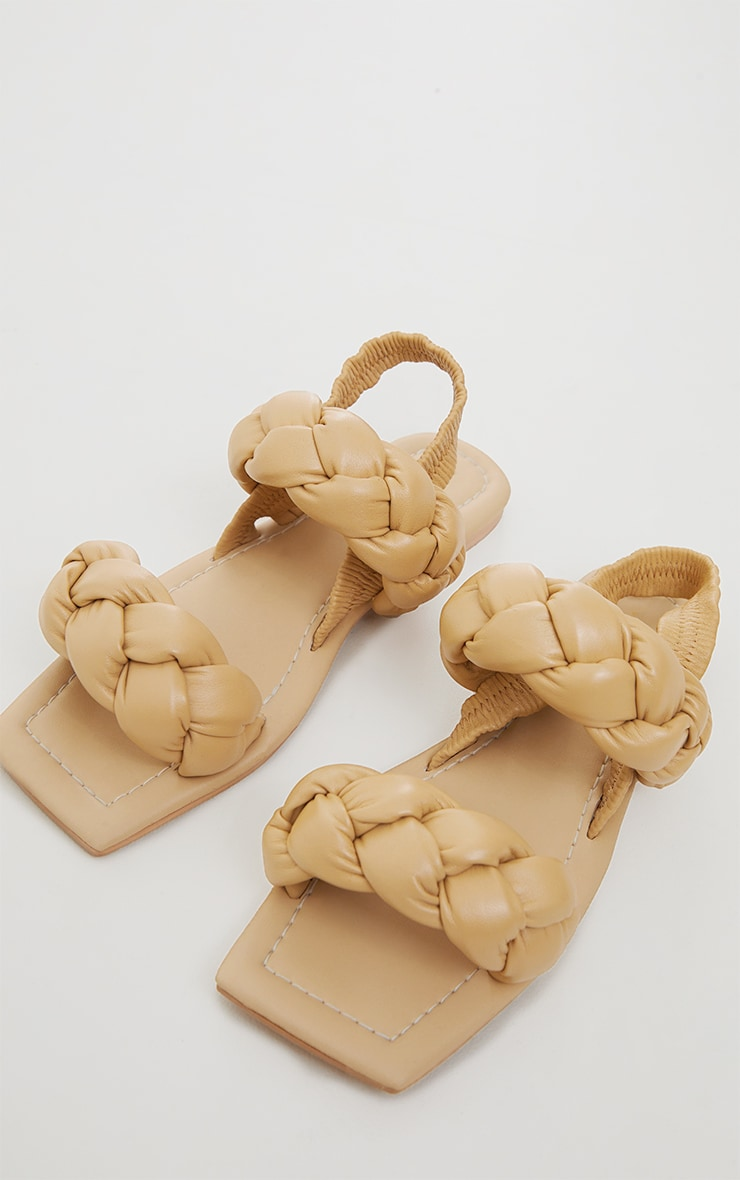 Beige Real Leather Chunky Plaited Square Toe Sandals 3
