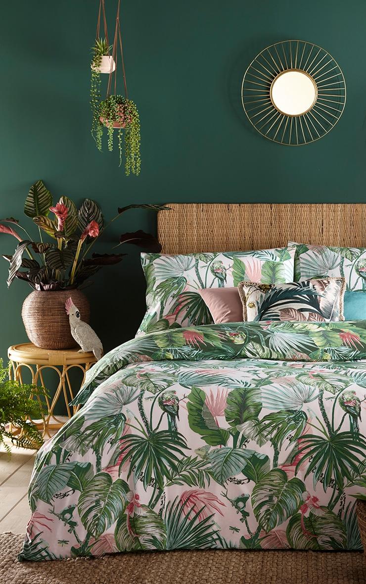 Green Tropical Leaf Print Double Duvet Set 1