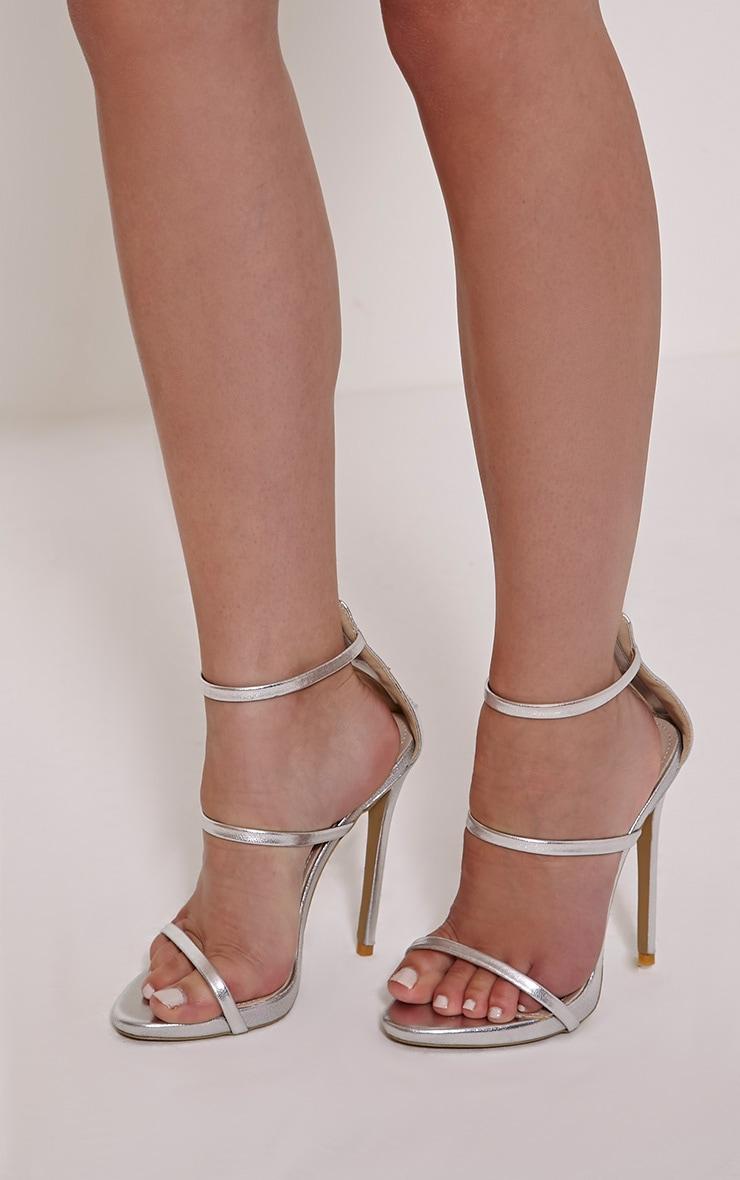 Asara Silver Metallic Heeled Sandals 1
