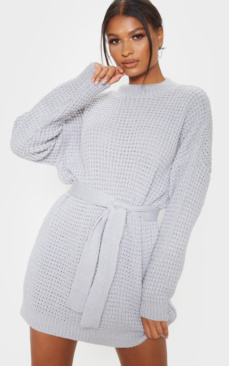 Light Grey Soft Touch Belted Knitted Jumper Dress 1