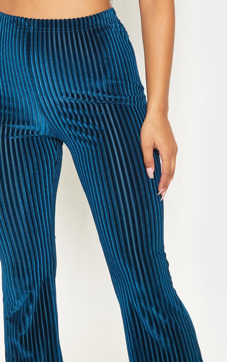 Teal Velvet Striped Flare Pants 5