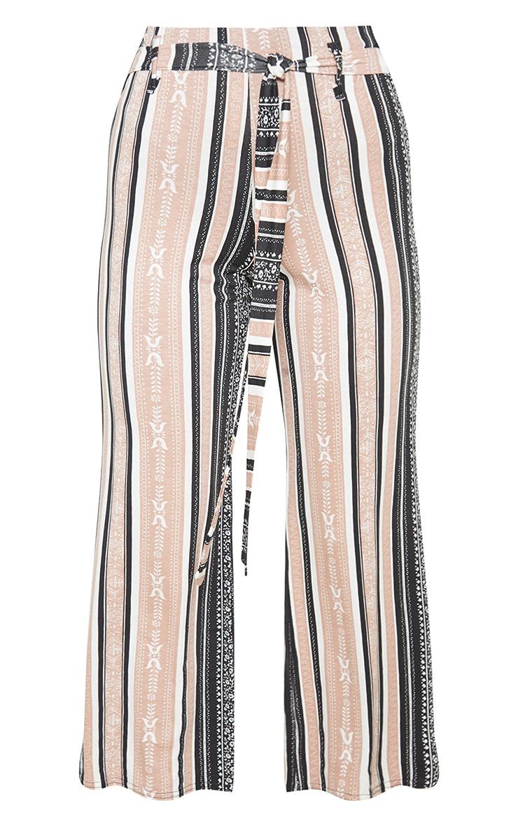 Jupe-culotte longue camel à imprimé rayé 3