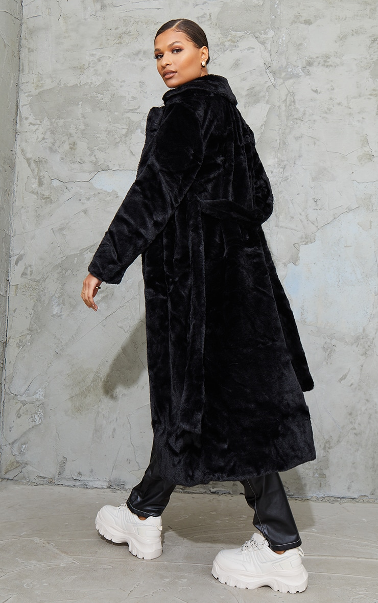 Black Belted Faux Fur Coat 2