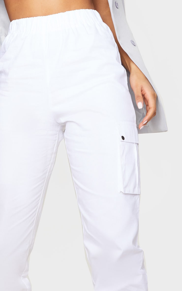 White Pocket Detail Cargo Pants 4