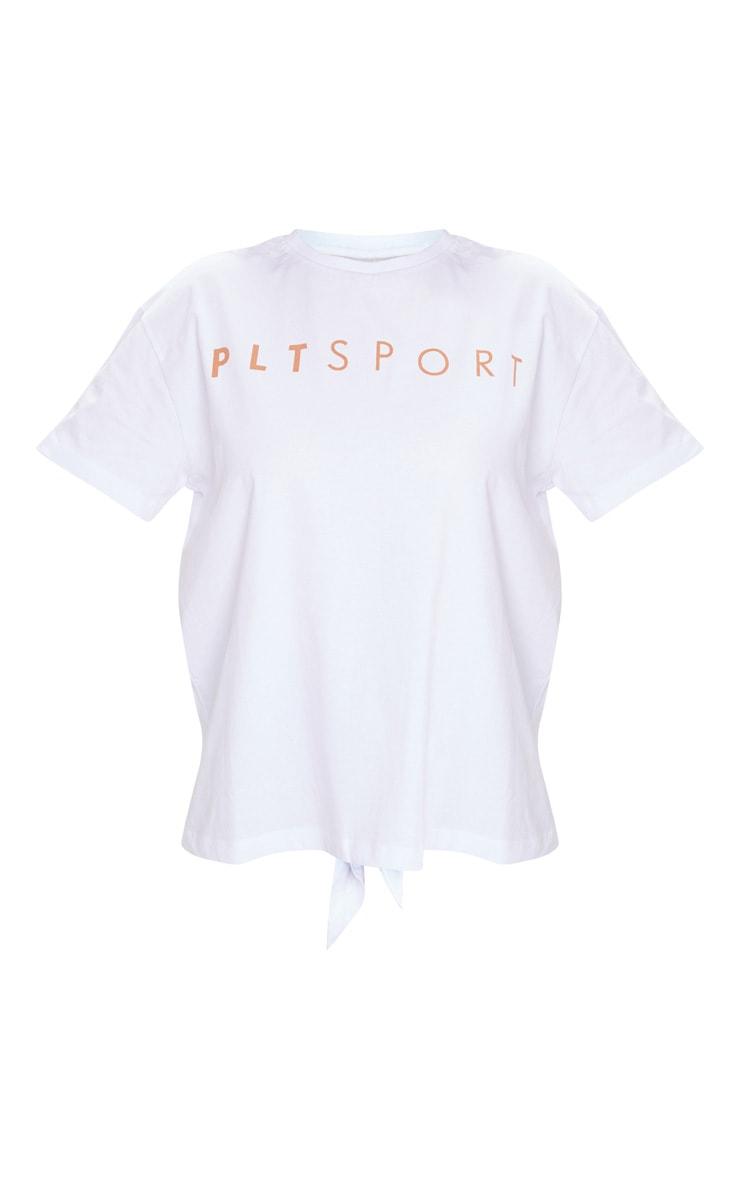 PRETTYLITTLETHING White Sport Tie Crop Top 5