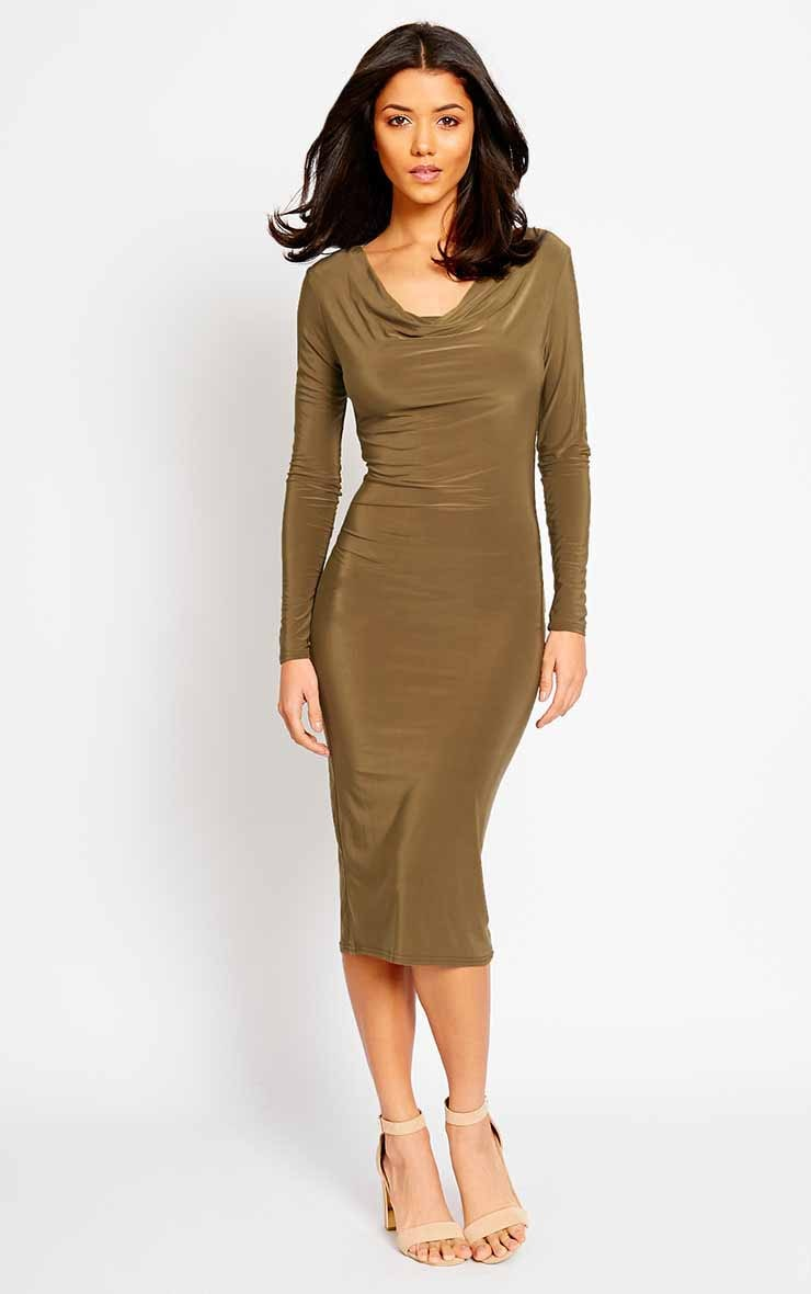 Ziva Khaki Slinky Cowl Neck Midi Dress 3