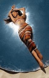 Brown Stripe Mesh Ring Detail Midaxi Dress 1