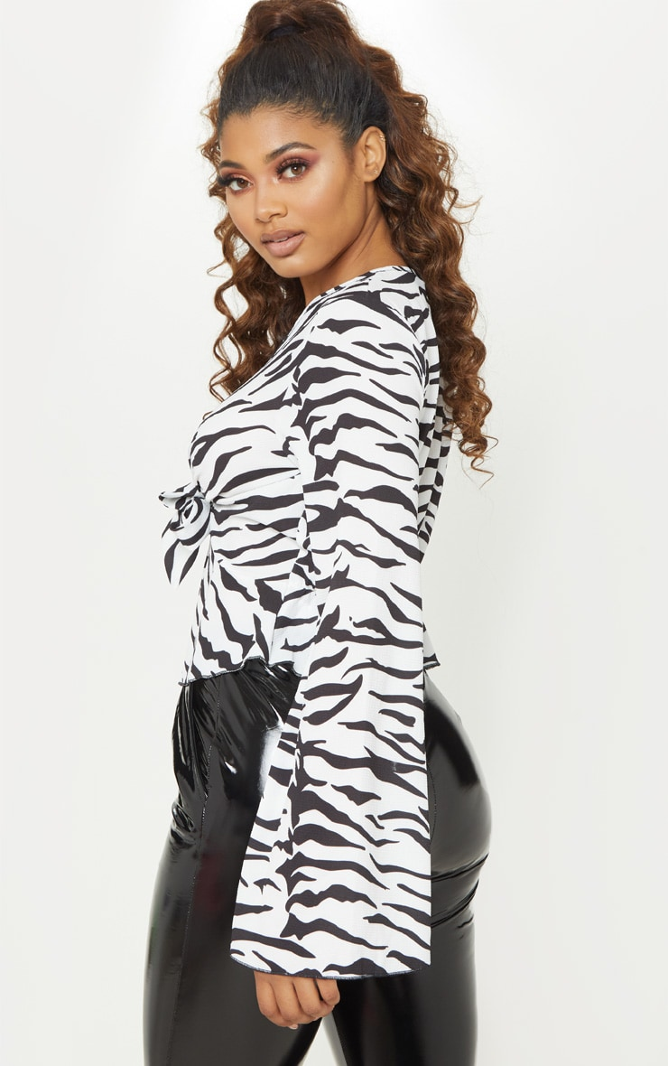 Tall White Zebra Print Wide Sleeve Tie Front Top 2