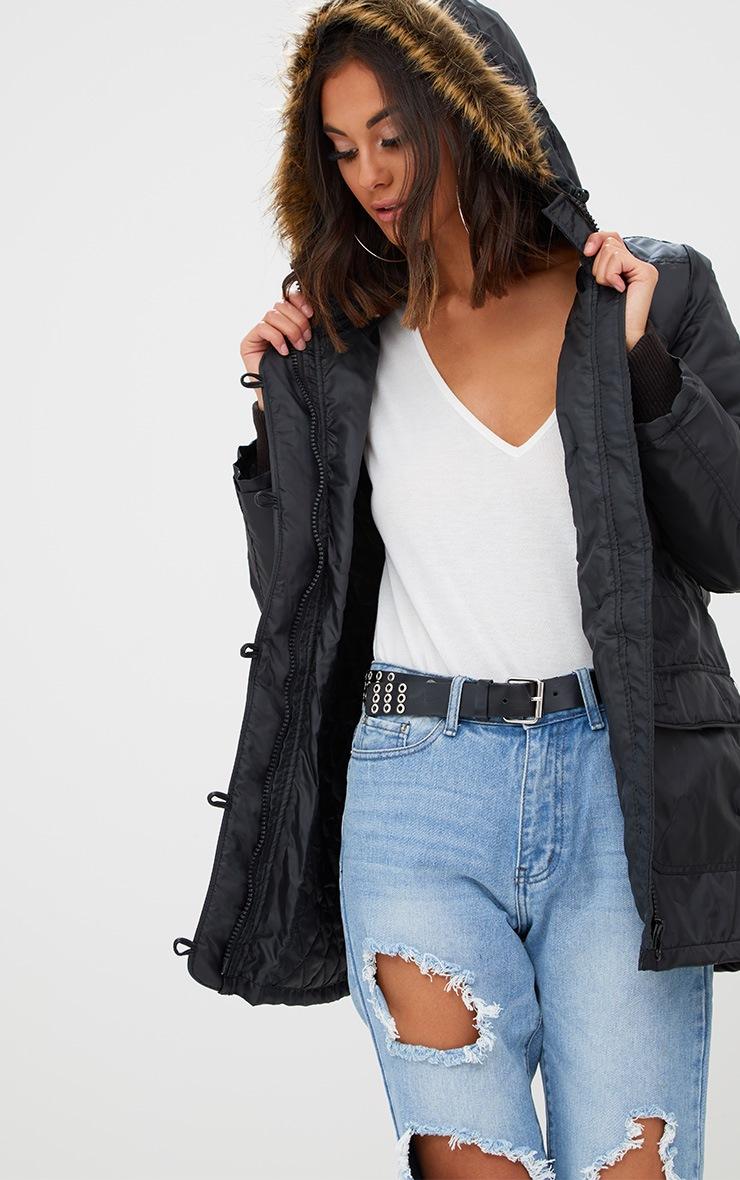 Black Parka Jacket with Faux Fur Hood 1