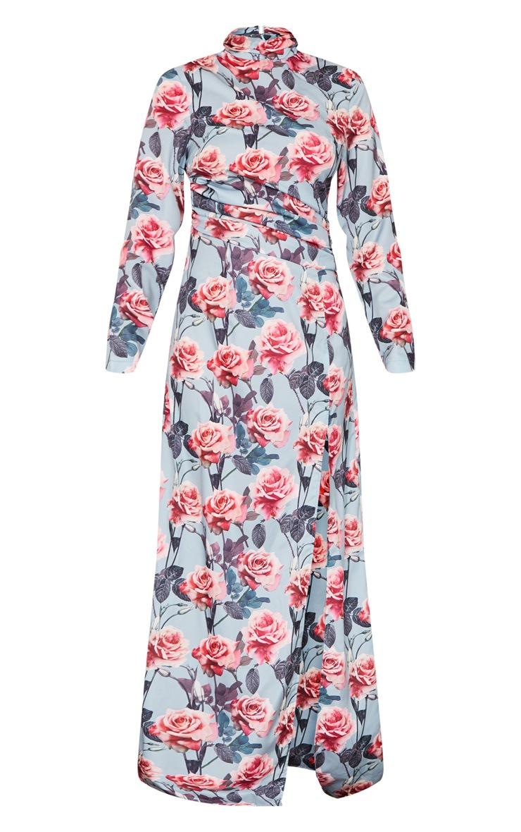 Robe longue à imprimé floral bleu cendré, taille froncée et col montant 5