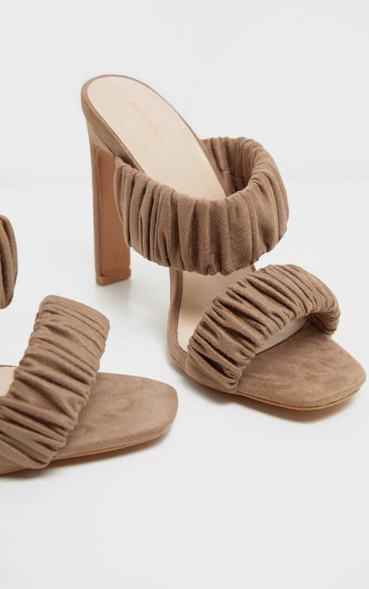 Sand Ruched Elastic Twin Strap Mule Sandal 4