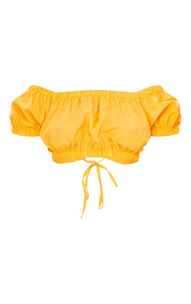Petite Orange Lace Up Back Puff Sleeve Crop Top 5
