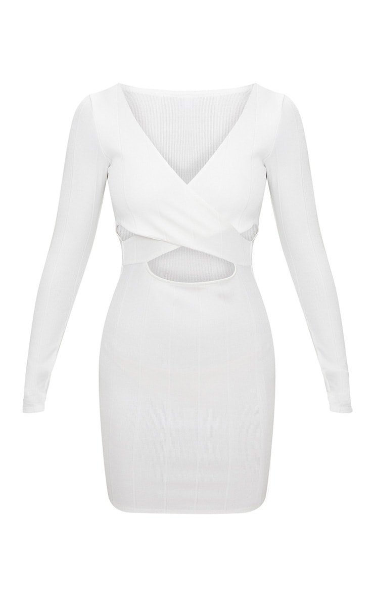 White Bandage Cross Front Cut Out Detail Bodycon Dress 3