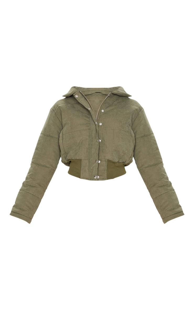 Khaki Peach Skin Cropped Puffer Jacket 3
