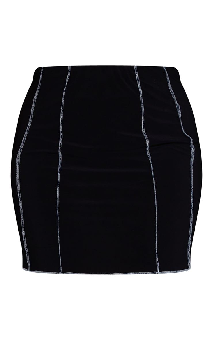 Plus Black Lace Up Contrast Stitch Skirt 6