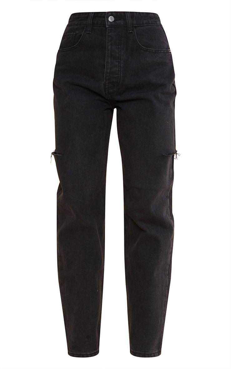 Washed Black Thigh Split Baggy Boyfriend Jeans 5