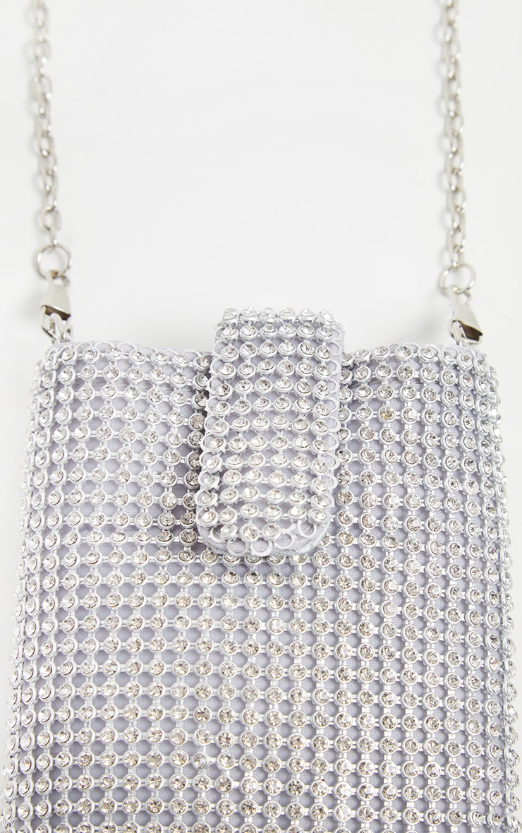 Silver Diamante Chainmail Phone Pouch Cross Body 3