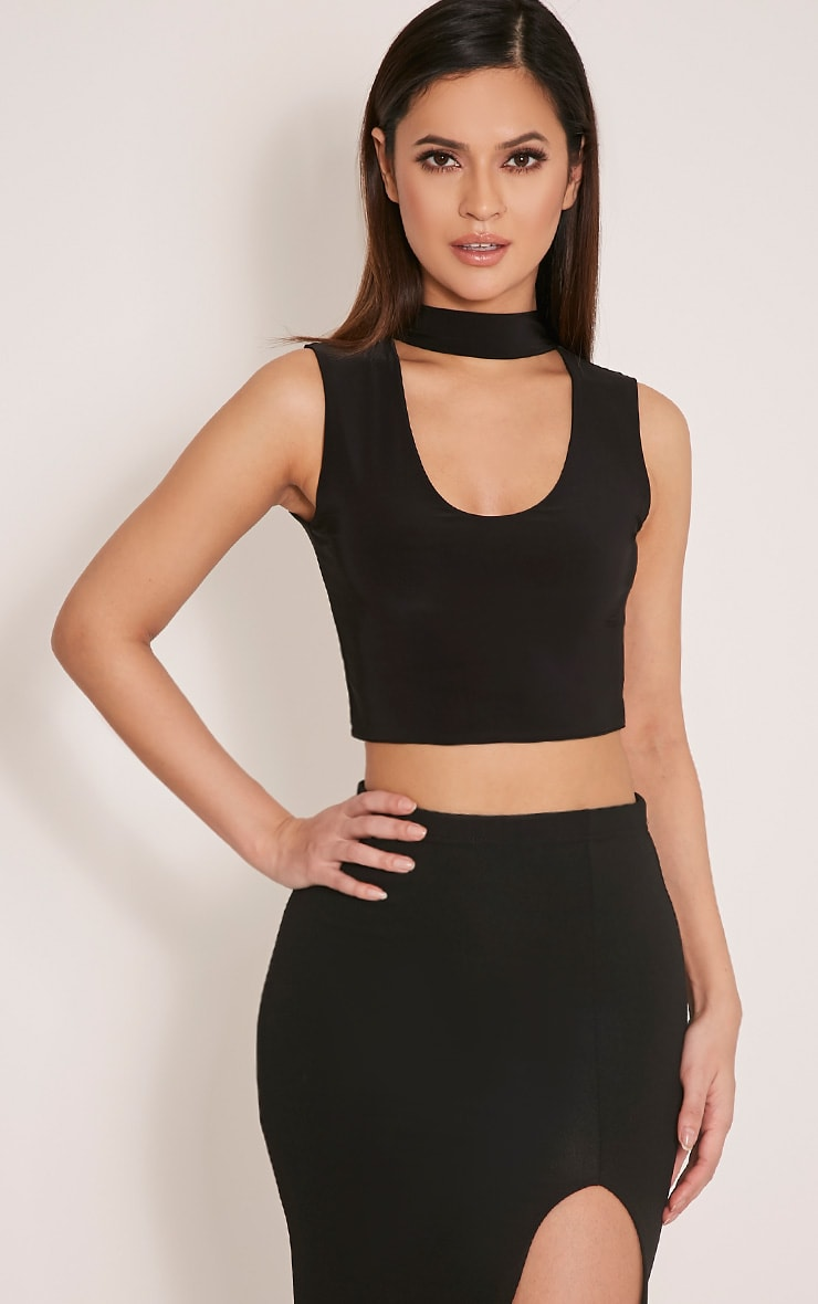 Melrose Black Cut Out Neck Slinky Crop Top 1
