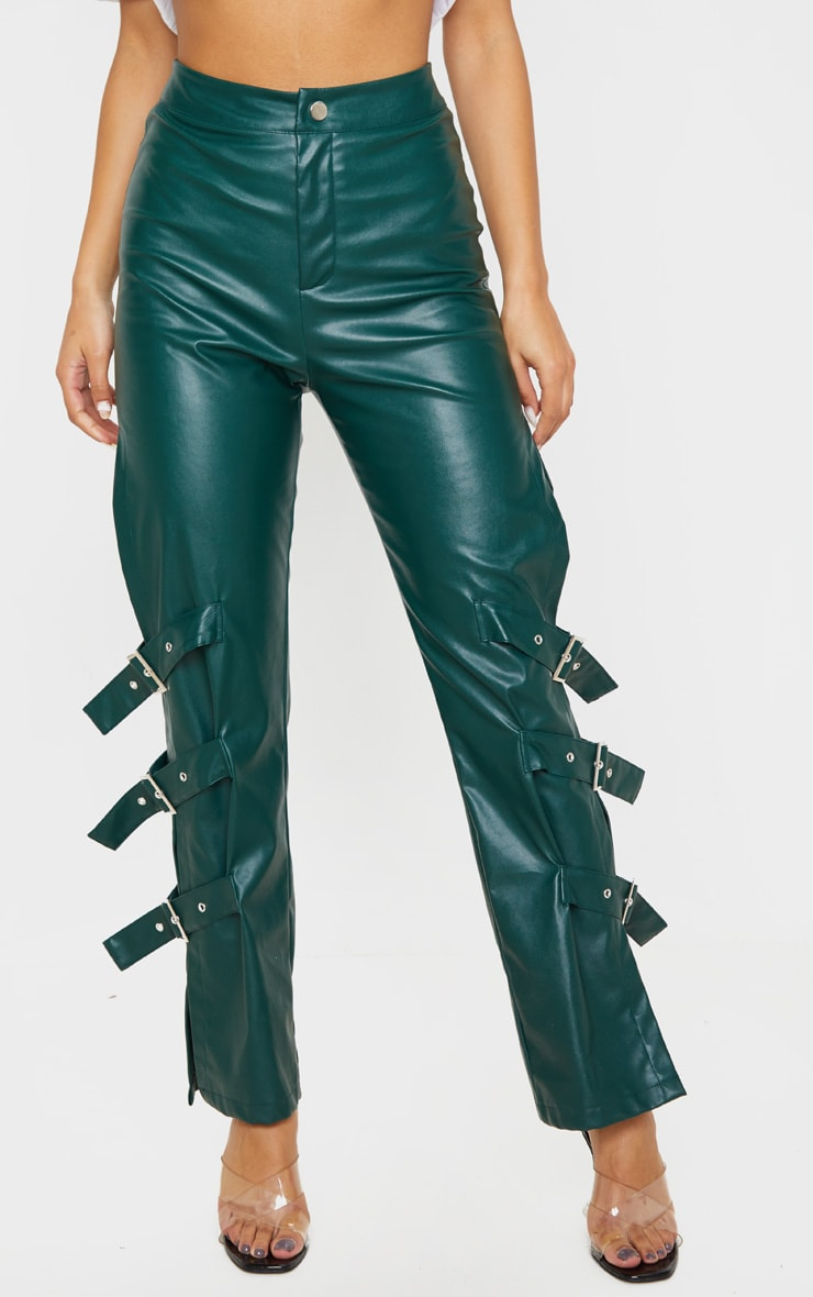 Emerald Faux Leather Buckle Strap Detail Pants 2