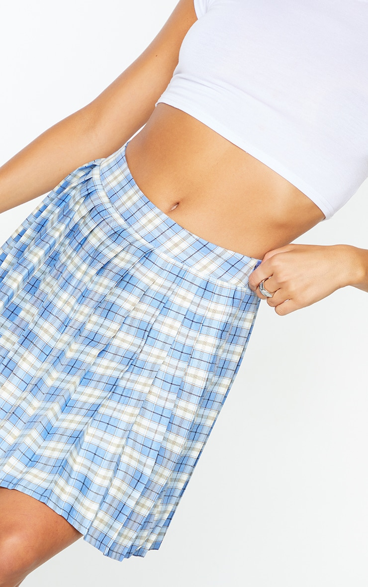 Bright Blue Woven Check Pleated Tennis Skirt 5