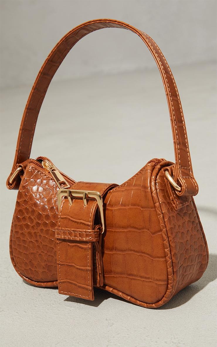Tan Croc Buckle Mini Shoulder Bag 2