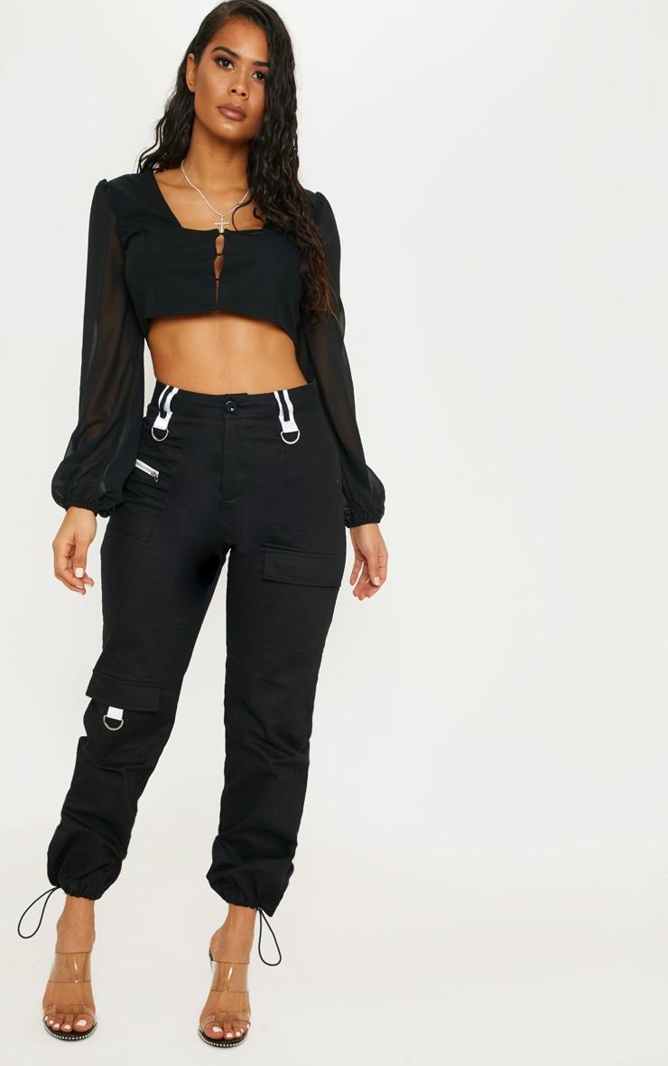 Black Sheer Sleeve Corset Top 4