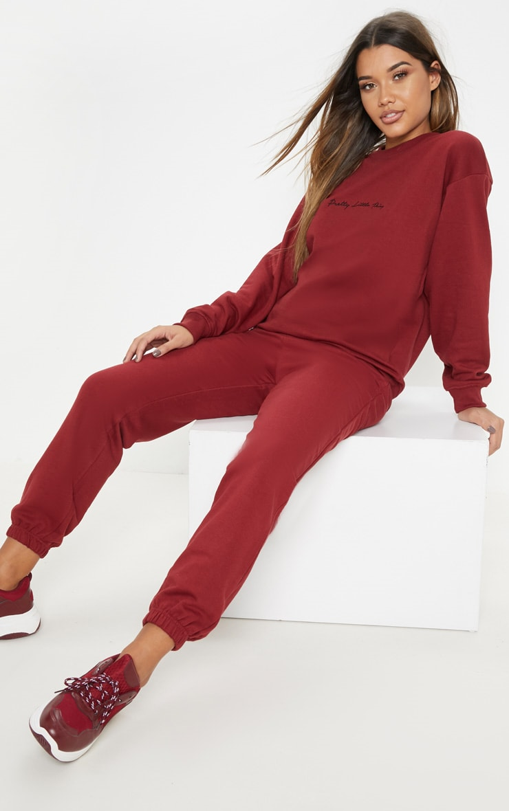 PRETTYLITTLETHING Burgundy Embroidered Oversized Sweater 4