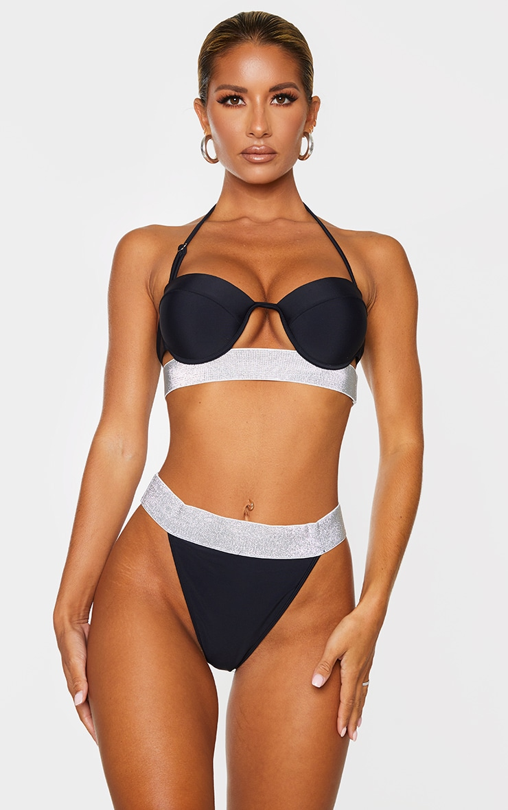 Black Push Up Cupped Glitter Hem Bikini Top 1
