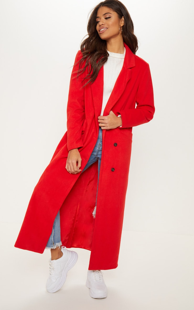 Red Longline Double Breasted Coat  1