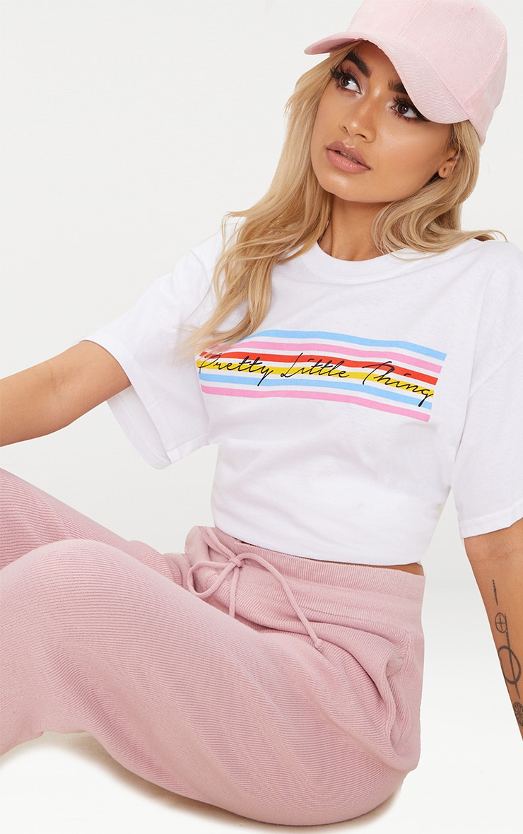 PRETTYLITTLETHING White Rainbow Oversized T Shirt 1