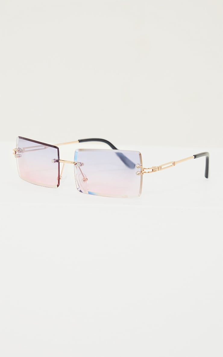 Blue With Pink Faded Lens Square Frameless Sunglasses 3