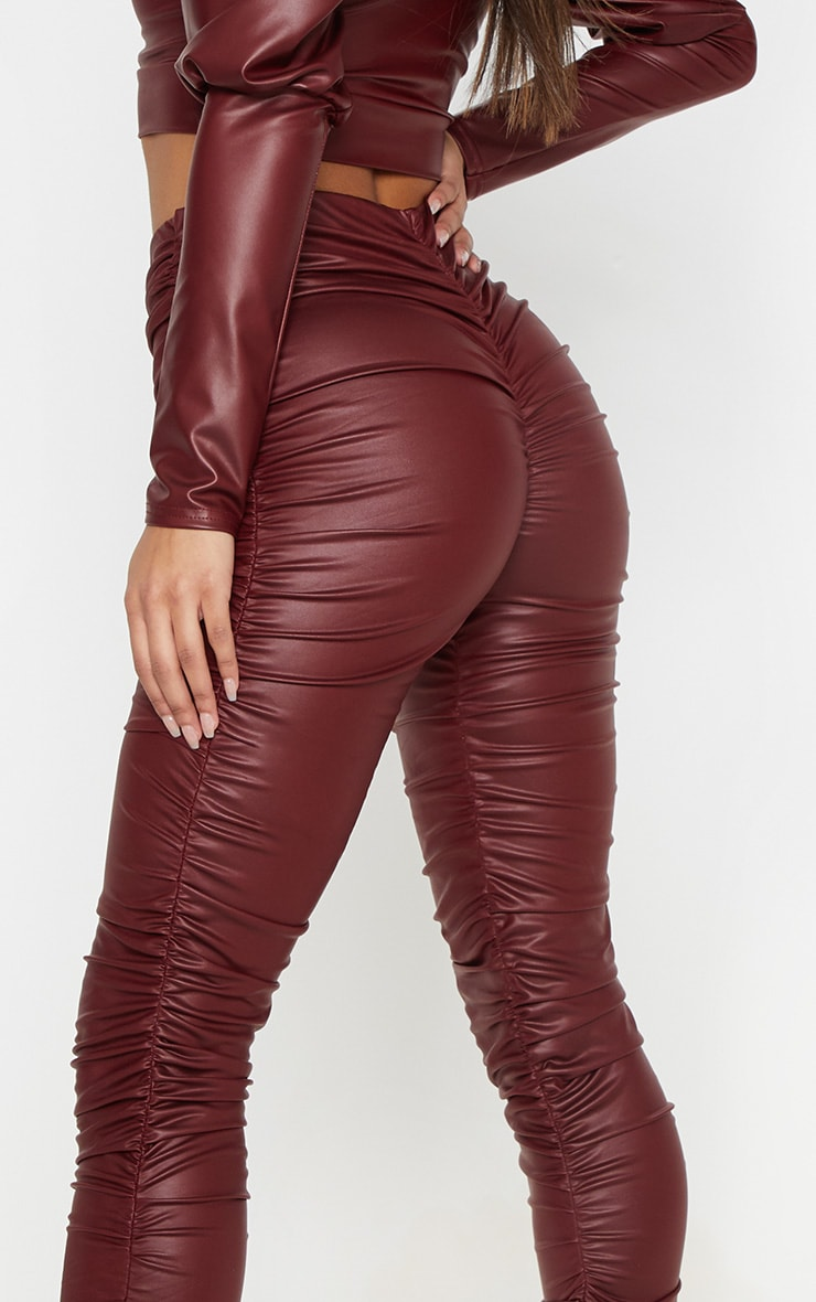 Maroon Coated Ruched Side Legging 6