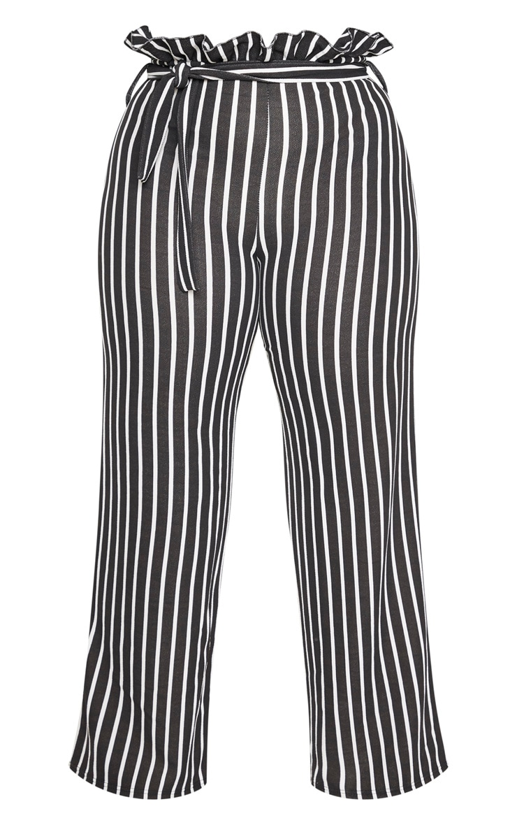 Plus Black Striped Paperbag High Waisted Wide Leg Pants 3